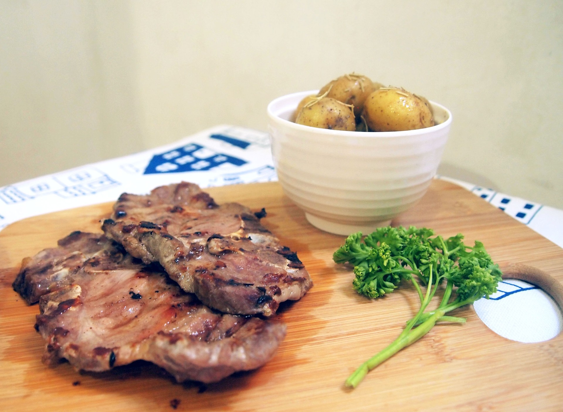 Grilled Pork Chops with Potato Marbles